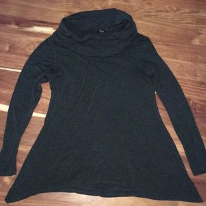 Charcoal gray cowlneck tunic size L